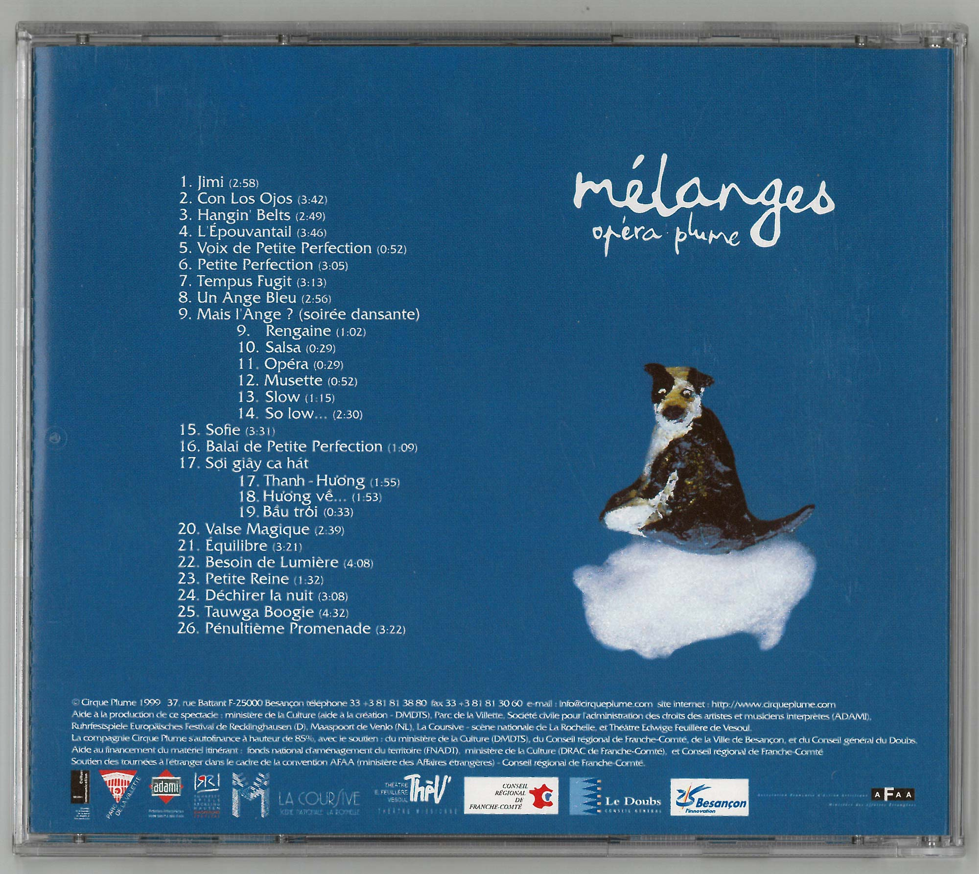 Back cover CD Mélanges (opéra plume)