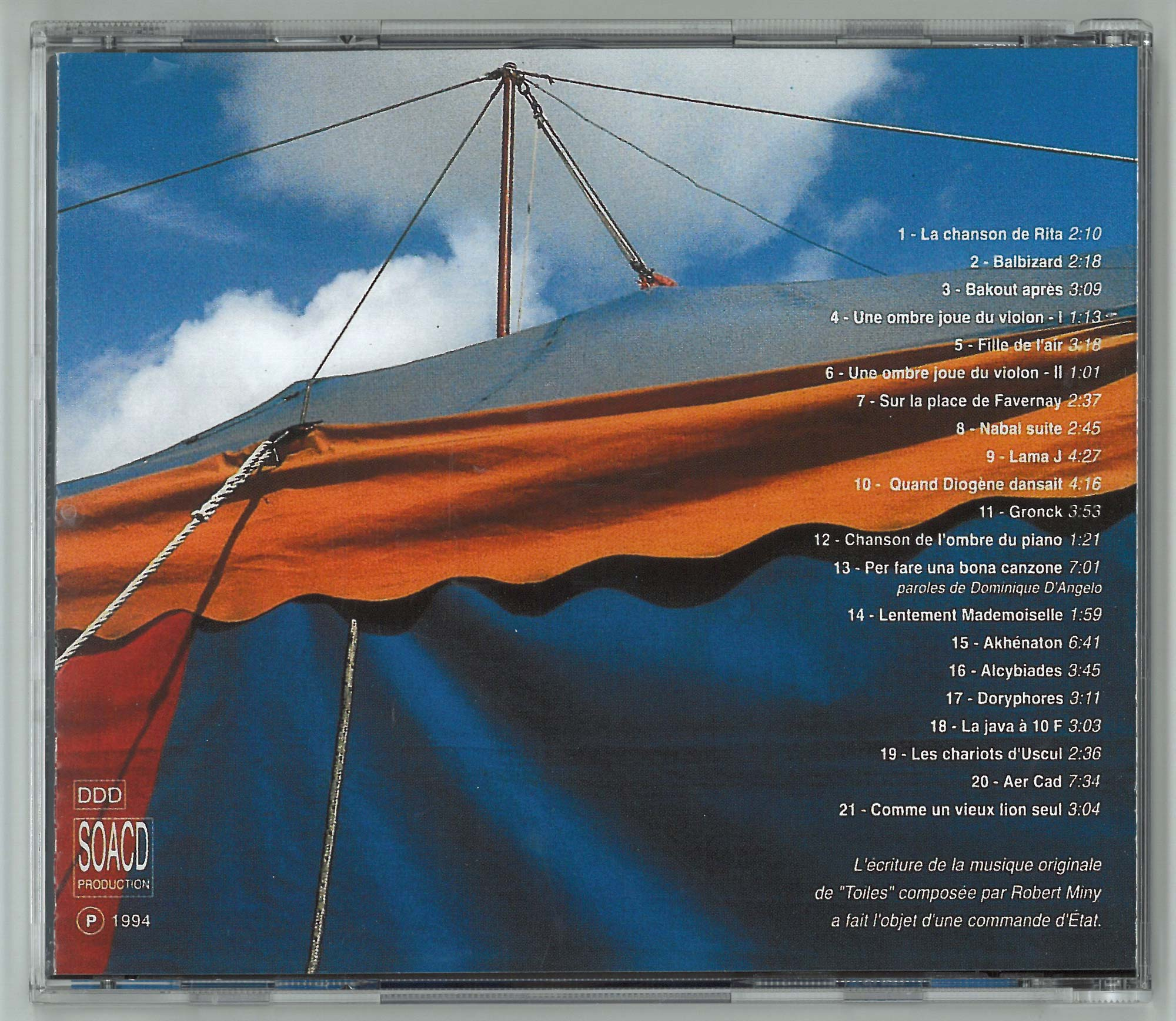 Couverture verso - CD Toiles
