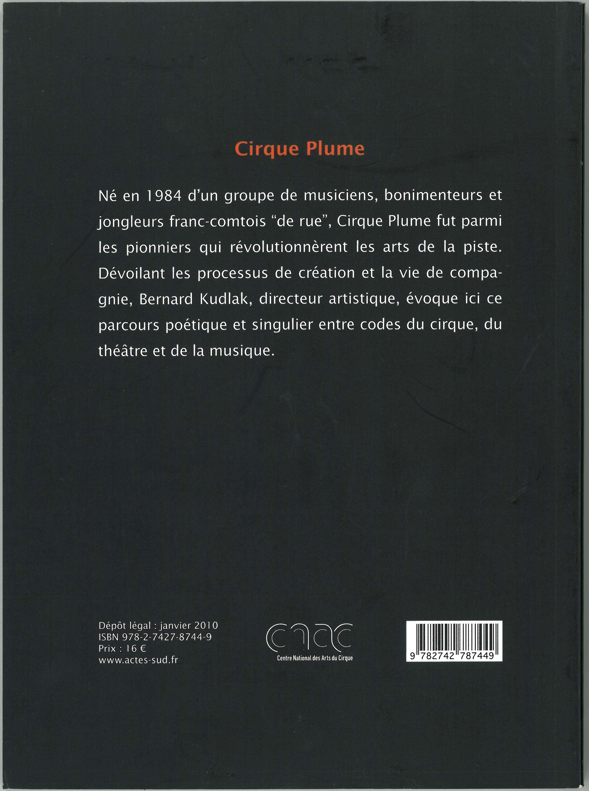 Back cover - Cirque Plume, Gwénola David