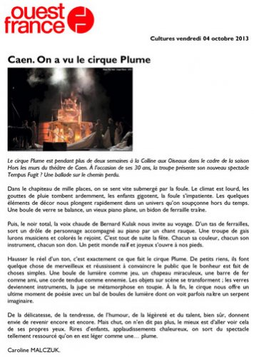 Caen. On a vu le Cirque Plume | Ouest France (presse_tempus) {PDF}