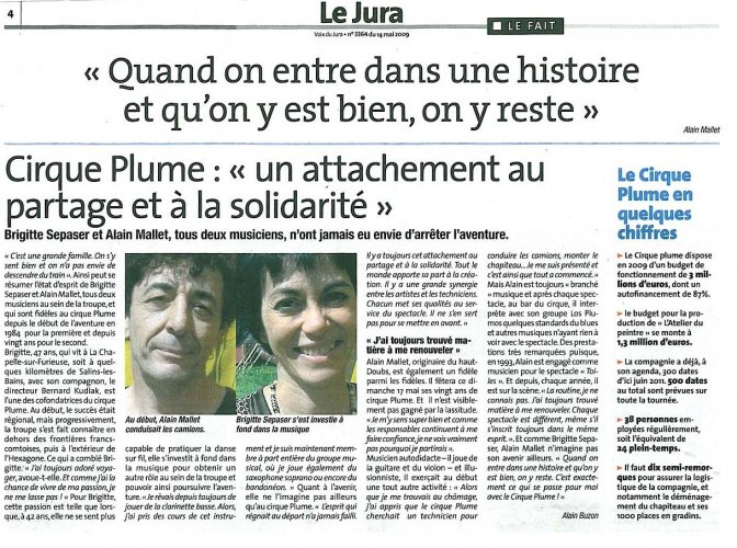 Interview of Brigitte Sepaser and Alain Mallet | La Voix du Jura (presse_adp) {JPEG}